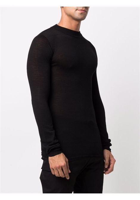 mock neck sweater man black in wool RICK OWENS | Sweaters | RU02A5625 M09