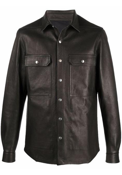 giacca camicia uomo nera in pelle RICK OWENS | Giacche | RU02A5729 LCW09