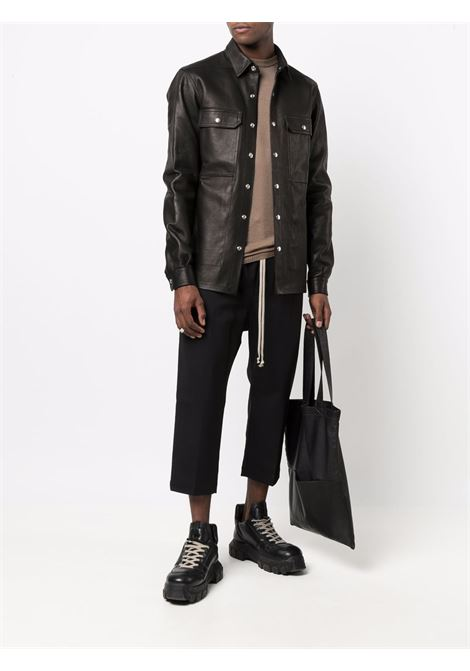 shirt jacket man black in leather RICK OWENS | Jackets | RU02A5729 LCW09