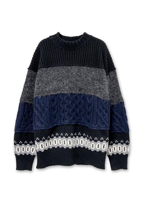 braided sweater man in wool SACAI | Sweaters | 21-02612M007