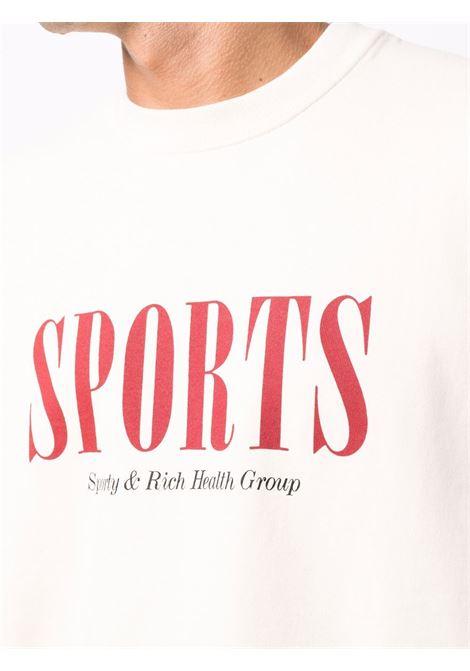 logo sweatshirt unisex cream in cotton SPORTY & RICH | Sweatshirts | CR261CR
