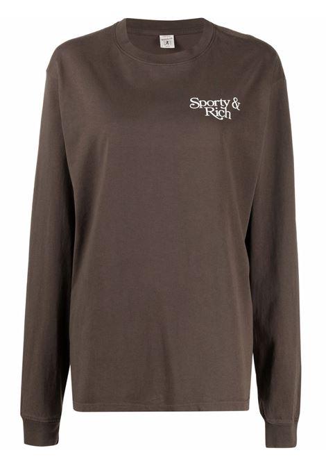 t-shirt bardot donna marrone in cotone SPORTY & RICH | T-shirt | LO261CH