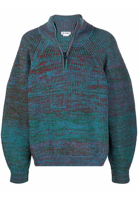 sweater with zip man multicolor in wool SUNNEI | Sweaters | FW21MHNS01 KNITAZURE/GREEN/RED