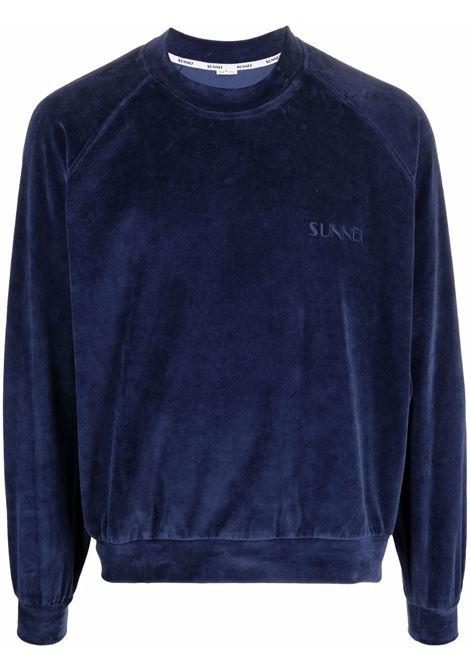 logo sweatshirt man blue in cotton SUNNEI | Sweaters | SNF1XF02AP JE180DARK BLUE