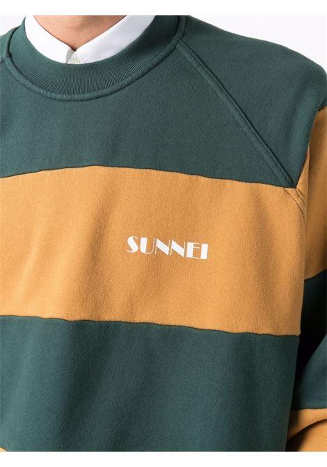 felpa a righe uomo multicolor in cotone SUNNEI | Maglieria | SNF1XF03AP JE132CARAMEL/DARK GREEN