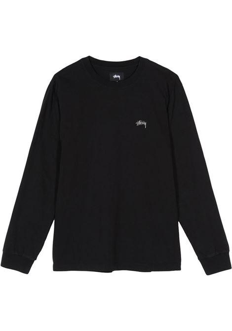 t-shirt a maniche lugnhe uomo nera in cotone STUSSY | T-shirt | 1140242BLACK