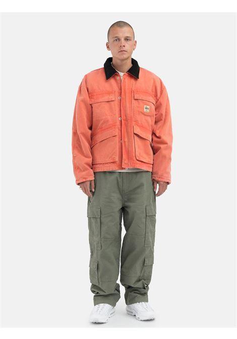 canvas shop jacket man orange in cotton STUSSY   Jackets   115589ORANGE