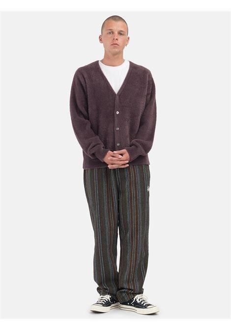 shaggy cardigan man purple STUSSY | Sweaters | 117094EGGPLANT