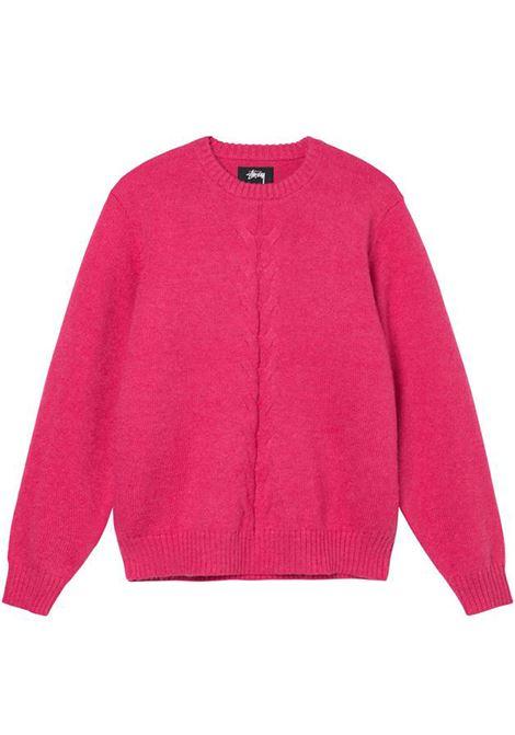 maglione double cable uomo rosa STUSSY | Maglieria | 117096PINK