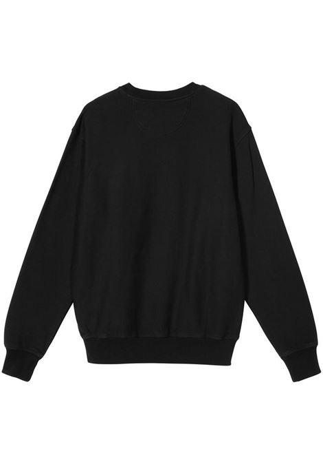 stock logo crew man black in cotton STUSSY | Sweatshirts | 118416BLACK
