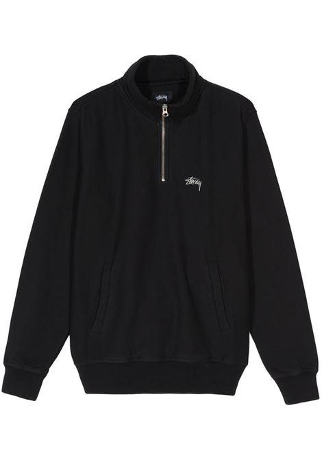 felpa stock logo mock uomo nera in cotone STUSSY | Felpe | 118418BLACK