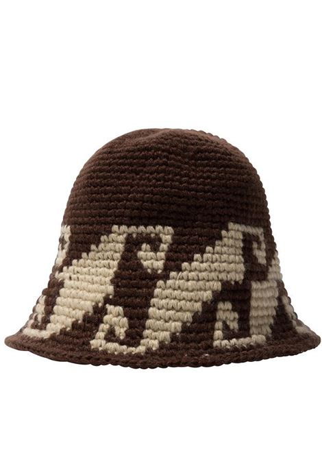 waves knit bucket hat unisex brown in acrylic STUSSY | Hats | 1321057BROWN