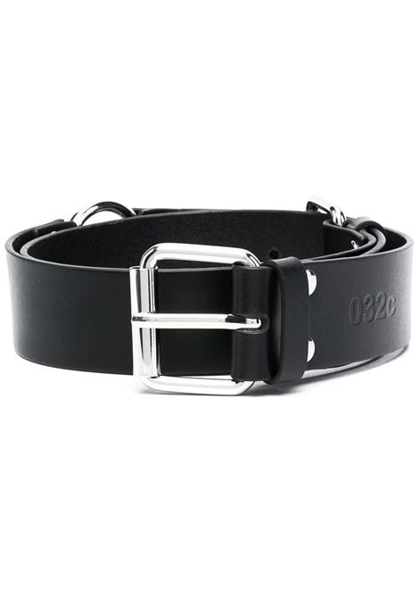 032c logo embossed leather belt man black 032c | Belts | SS21-A-2030BLACK