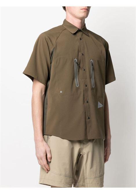And Wander two tone short sleeved shirt man khaki AND WANDER | Shirts | 5741153038180