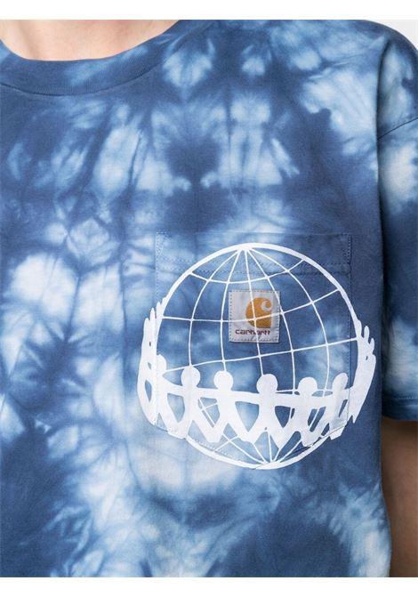 joint pocket t-shirt man light blue in cotton CARHARTT WIP | T-shirts | I0289320AD.90