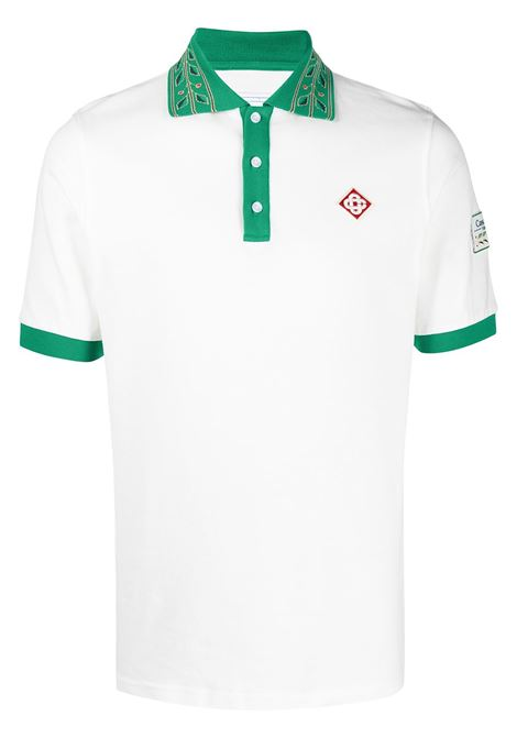 Casablanca polo con patch logo uomo CASABLANCA | Polo | MS21-JTP-002WHITE