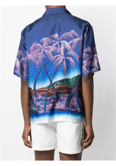Casablanca camicia con stampa di palme uomo CASABLANCA | Camicie | MS21-SH-003NUIT