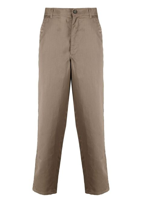 STRAIGHT LEG COTTON BLEND TROUSERS COMME DES GARÇONS SHIRT | Trousers | FG-P004KHAKI