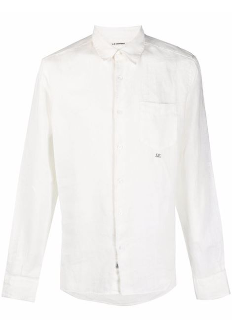 C.P. Company embroidered logo shirt man white C.P. COMPANY | Shirts | 10CMSH309A005415G103