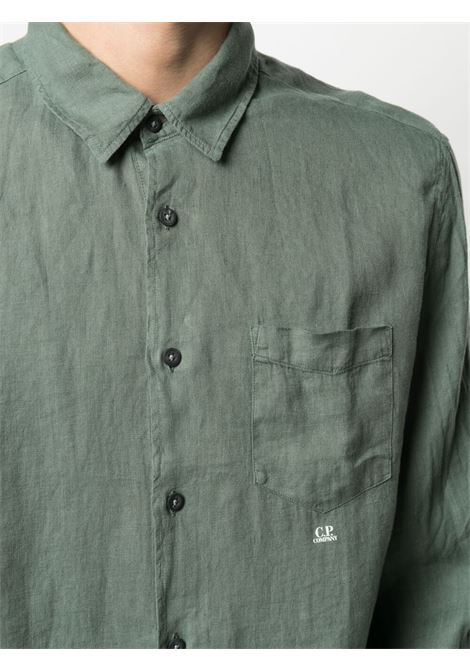 C.P. Company embroidered logo shirt man green C.P. COMPANY | Shirts | 10CMSH309A005415G668
