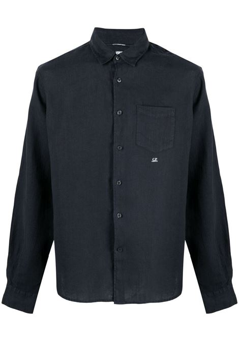 C.P. Company embroidered logo shirt man navy C.P. COMPANY | Shirts | 10CMSH309A005415G888