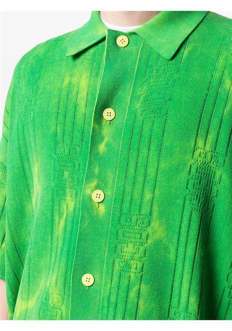 Polo Con Logo A Righe Uomo Verde Cotone GCDS | Polo | SS21M02001351
