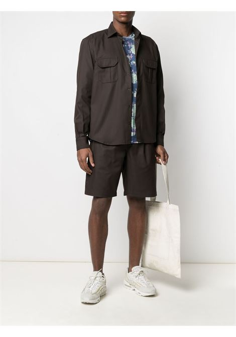 Gr10k two pocket long sleeved shirt man soil brown GR10K | Shirts | GR008SOIL BROWN