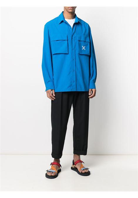 Kenzo camicia con logo ricamato uomo KENZO | Camicie | FB55CH5209CO69