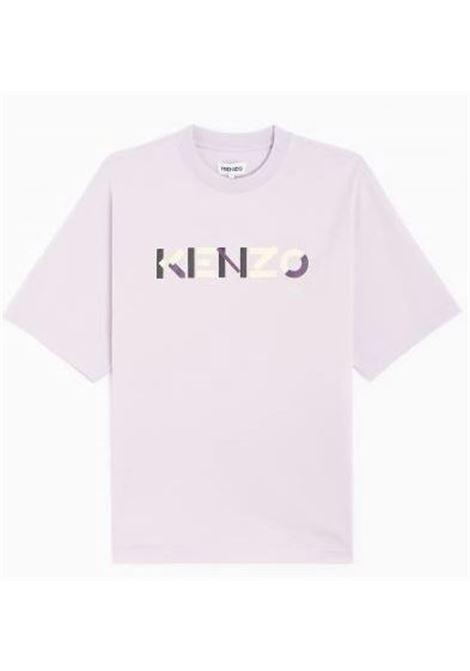 T-Shirt Con Logo Stampato Lilla Uomo in Cotone KENZO   T-shirt   FB55TS0554SB66