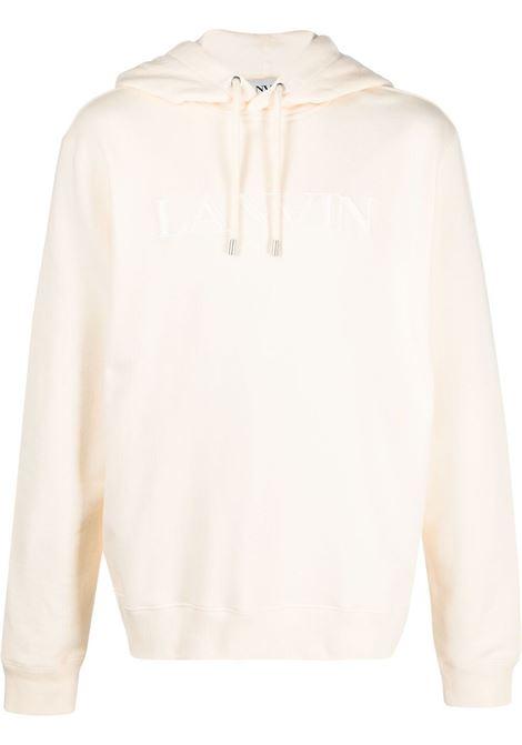 Lanvin felpa con logo ricamato uomo beige LANVIN | Felpe | RM-HO0004-J008021