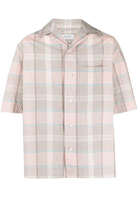 Lemaire check print short sleeved shirt man pink LEMAIRE | Shirts | M 211 SH160 LF551126
