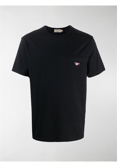 T-SHIRT WITH PATCH POCKET IN TRICOLOR FOX MAISON KITSUNÉ | T-shirts | FM00120KJ0010BK