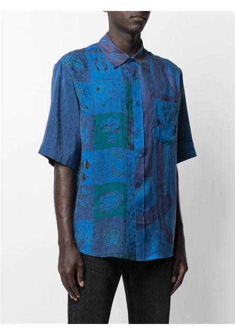 Marine Serre patchwork silk scarves shirt man blue MARINE SERRE | Shirts | T076SS21XU06