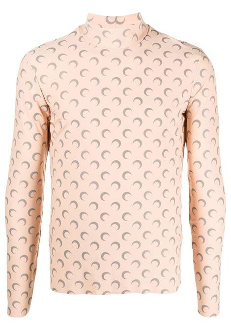 Marine Serre crescent moon print top man beige MARINE SERRE | T-shirts | T088SS21M-JERPL000948-09