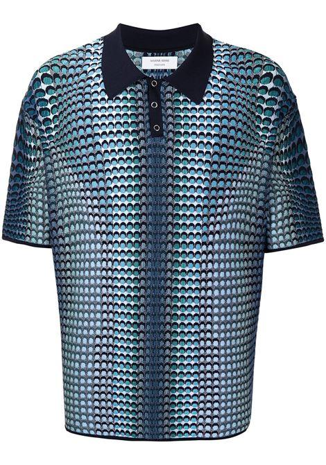 Marine Serre logo knit polo shirt man blue MARINE SERRE | Polo | T167SS21M06