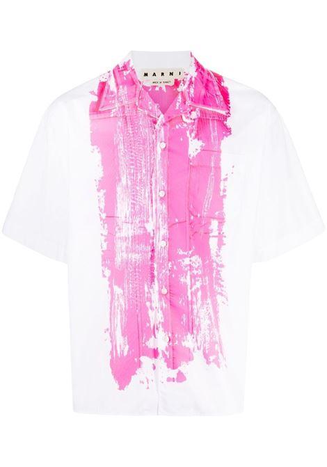 Marni printed shirt man white MARNI | Shirts | CUMU0216P0 S5366300W01
