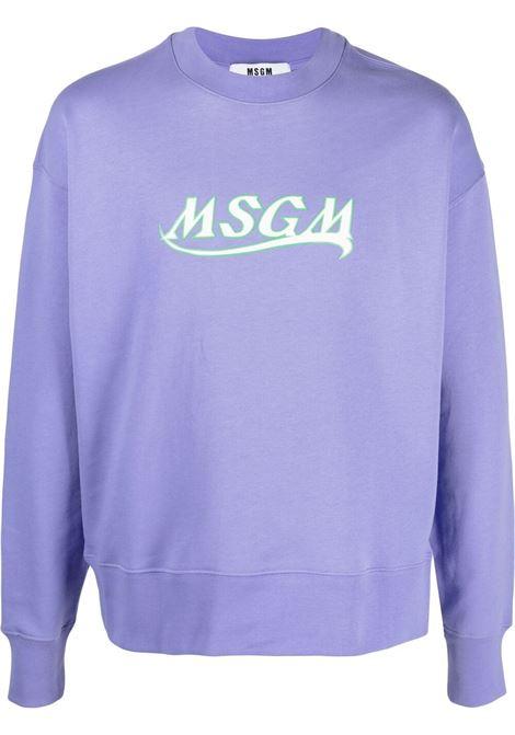 Msgm logo sweatshirt man violet MSGM | Sweatshirts | 3040MM185 21709972