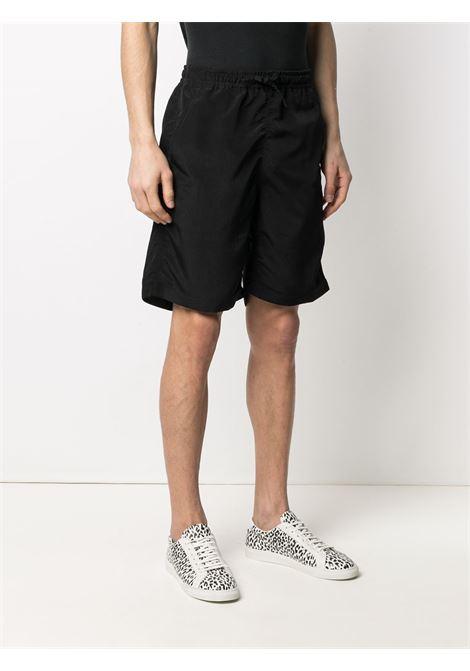 Needles embroidered logo shorts man black NEEDLES | Shorts | IN137BLACK
