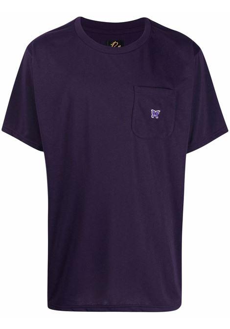 Needles t-shirt con ricamo uomo viola NEEDLES | T-shirt | IN210EGGPLANT