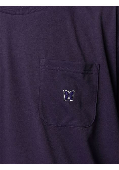 Needles embroidered t-shirt man purple NEEDLES | T-shirts | IN210EGGPLANT