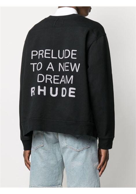Rhude felpa con stampa uomo nero RHUDE | Felpe | RHPS21SW0015