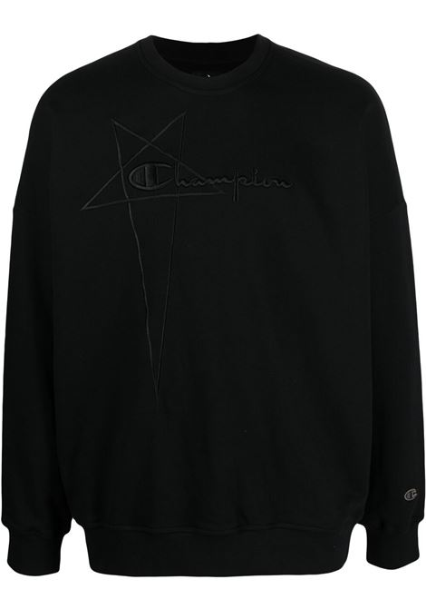 Rick Owens X Champion embroidered logo sweatshirt man black RICK OWENS X CHAMPION | Sweatshirts | CM21S0005 21676009