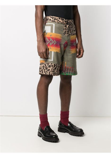 archive print mix short man beige in cotton SACAI | Shorts | 21-02473MBEIGE