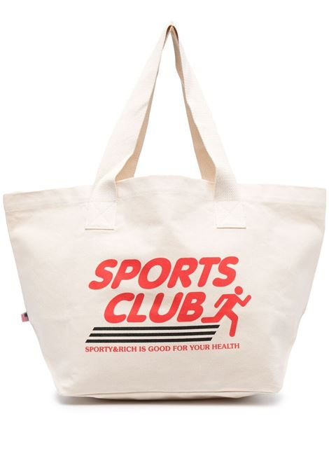 Sporty & Rich printed logo bag unisex beige SPORTY & RICH | Bags | AC141NT