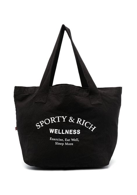 Sporty & Rich logo printed bag unisex black SPORTY & RICH | Bags | AC143BK
