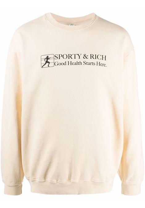 good health crewneck man beige in cotton SPORTY & RICH | Sweatshirts | CR185CI