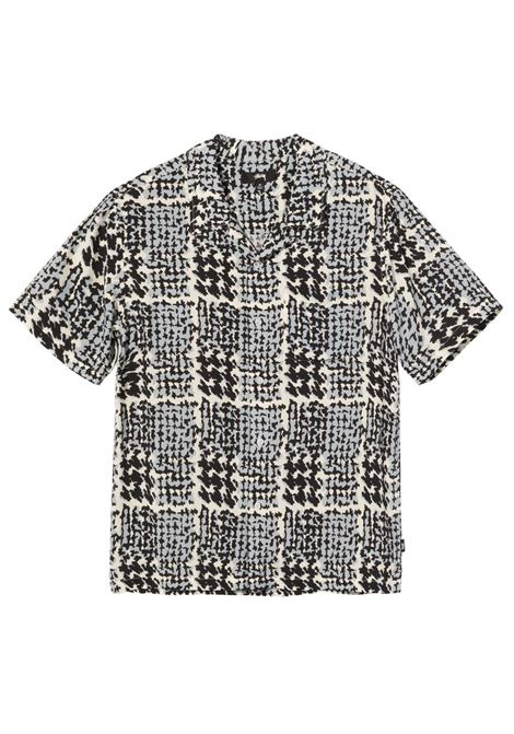 Stussy camicia hand drawn houndstooth uomo STUSSY | Camicie | 1110150OFF WHITE