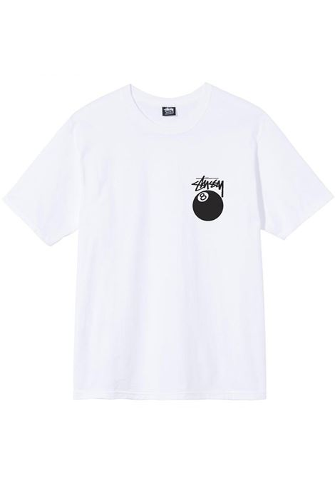 T-shirt 8 Ball Bianca in Cotone Uomo STUSSY | T-shirt | 1904684WHITE