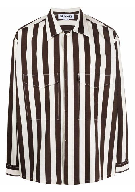 Sunnei camicia a righe uomo bianco SUNNEI | Camicie | SN1SXS06BP - TR079.R18OWHITEBROWN