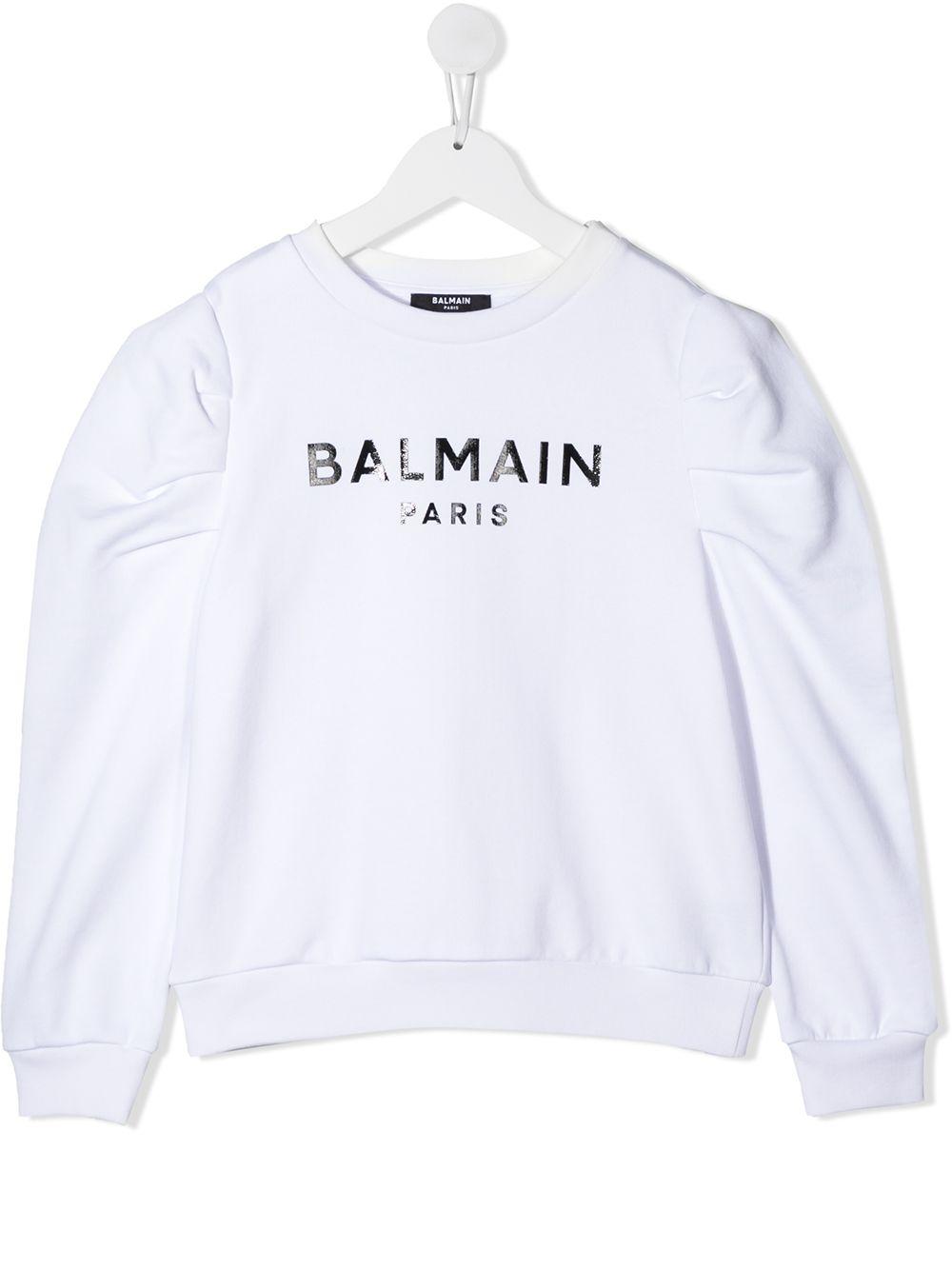 felpa con manica particolare logata Balmain | Felpa | 6N4030NX320100NE